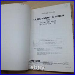 CARCO 28 CAT D3B Tractor 931B Crawler Winch Service Owner Operator Parts manual