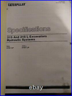 CAT 315 and 315L Excavator Service Manual 315 (4YM1-UP) 315L (6YM1-UP)