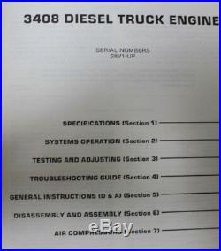 CAT Caterpillar 3408 Diesel Truck Engine Shop Service Manual 28V1-UP SEBR0501-01
