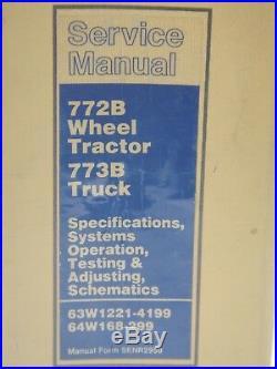 CAT Caterpillar 772B 773B Dump Truck Repair Shop Service Manual Rock Quarry Haul