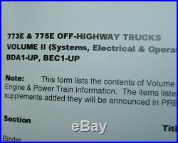 CAT Caterpillar 773E 775E Dump Truck Repair Shop Service Manual overhaul quarry
