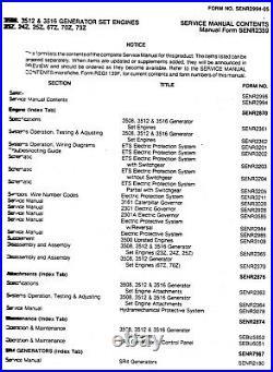CATERPILLAR 3500 Series Generator Engine Service Manual