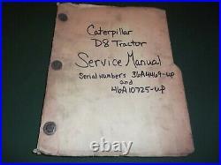 Cat Caterpillar D8 D8h Crawler Tractor Dozer Service Shop Repair Manual 36a 46a