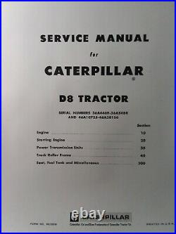 Caterpillar D8 Crawler Tractor Major Overhaul Service Manual 36A4468 & 46A10725