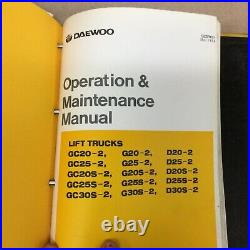 Daewoo D20/25/30/S-2 GC/G20/25/30/S-2 SERVICE SHOP REPAIR MANUAL FORK LIFT TRUCK