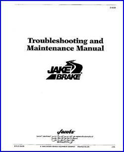 Jake Brake 346D 349A 317D 317E C336 For Cat Engines Service Maintenance Manual