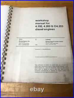Perkins Diesel Engine Service Workshop Manual D4.203 4.203 4.192 Cat 416 426