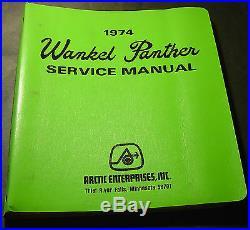 Vintage 1974 Arctic Cat Wankel Panther Service Manual & Parts Manual New
